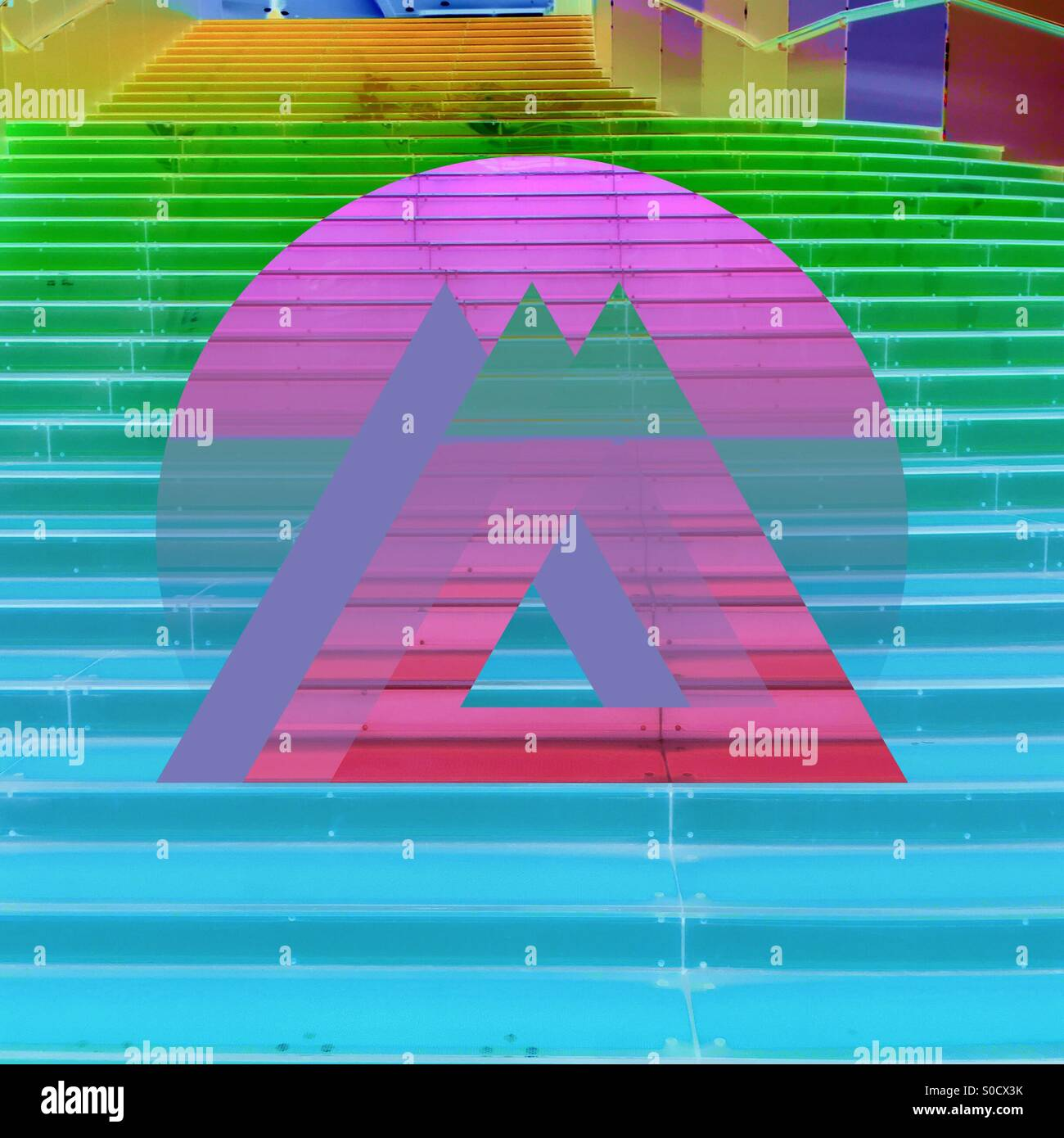 Stairs made abstract, colorful and geometric with rainbow gradients under circular and triangular shapes. - Stock Image