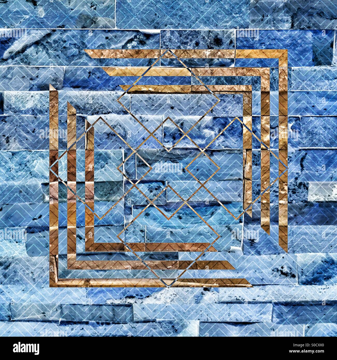 Blue-toned bricks with brown geometric pattern and diamond tangle overlay. - Stock Image