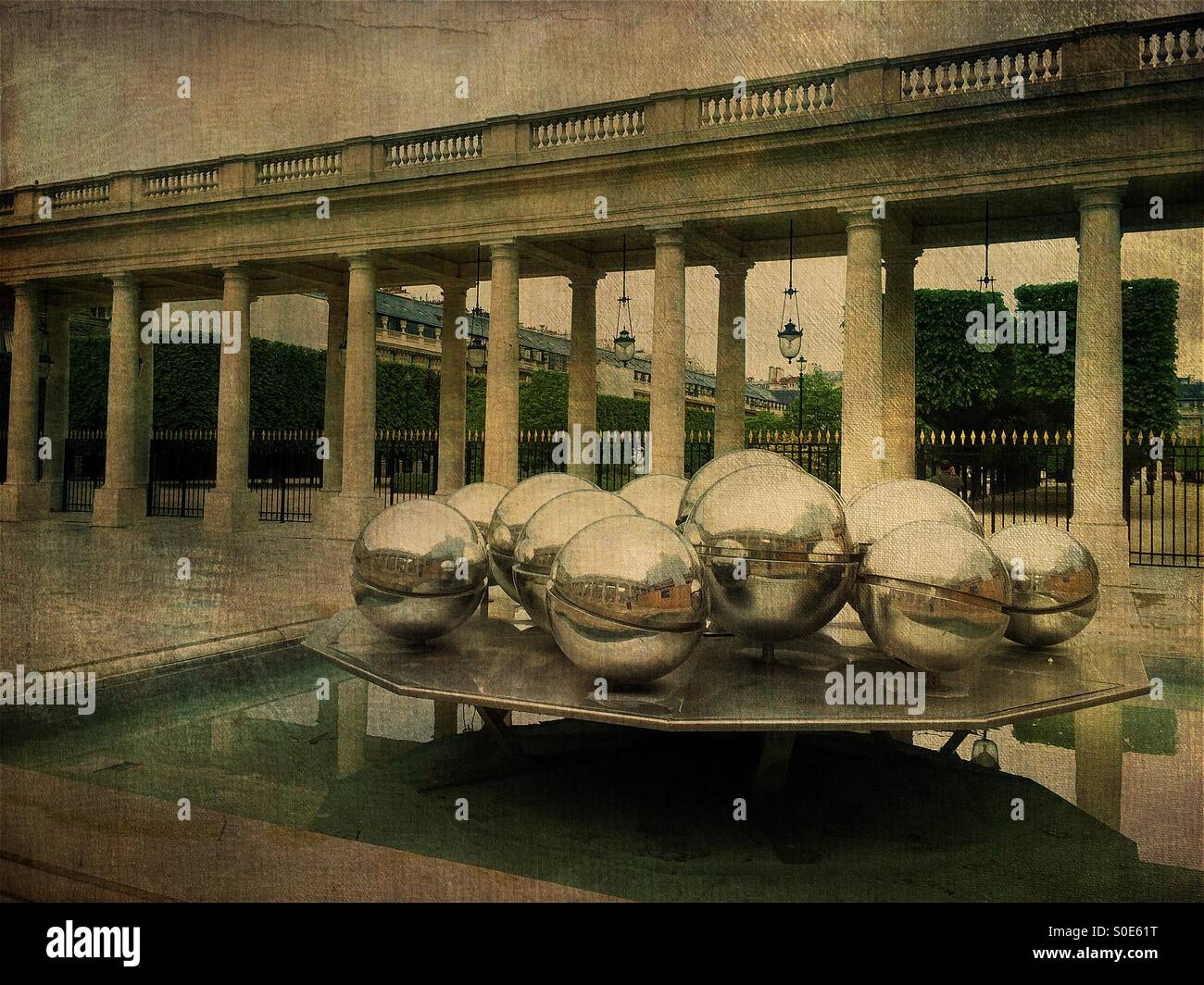 View of Fontaines installation by Pol Bury at the Orleans Gallery of Place du Palais-Royal in Paris, France. The - Stock Image