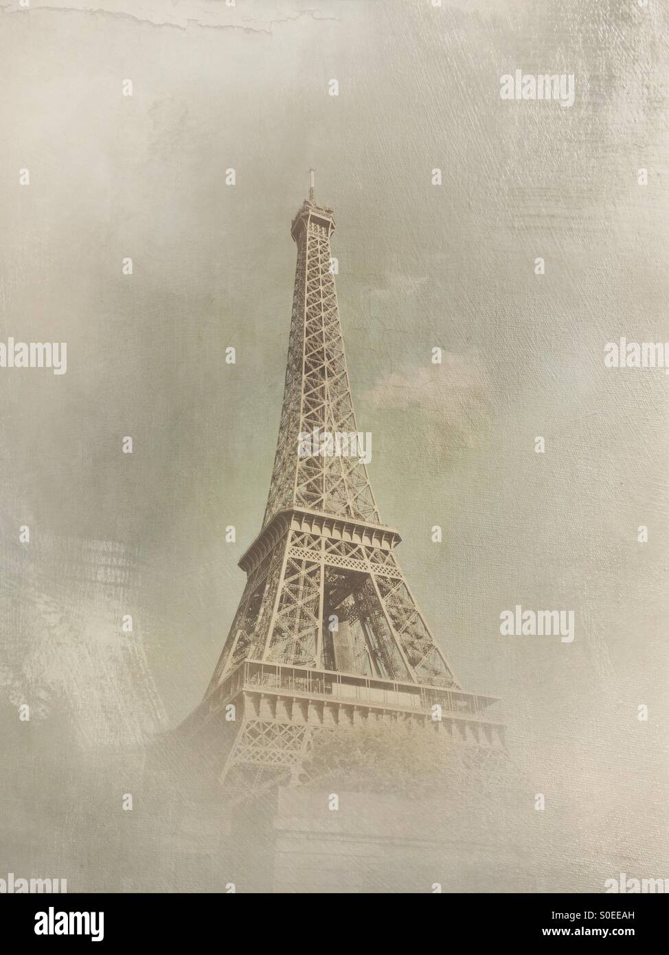View of Eiffel Tower from cruise boat on Seine River in Paris, France. Vintage texture overlay. - Stock Image