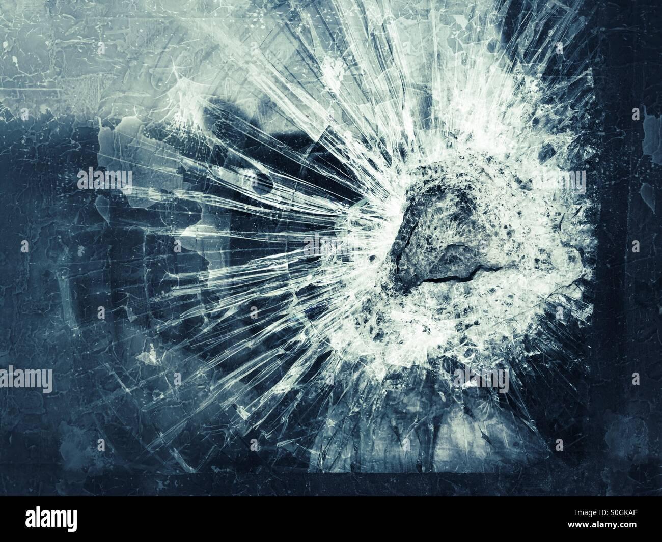 Broken glass - Stock Image