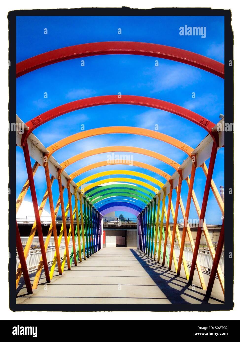 Colorful Bridge to Niemeyer Center in Aviles, Spain - Stock Image