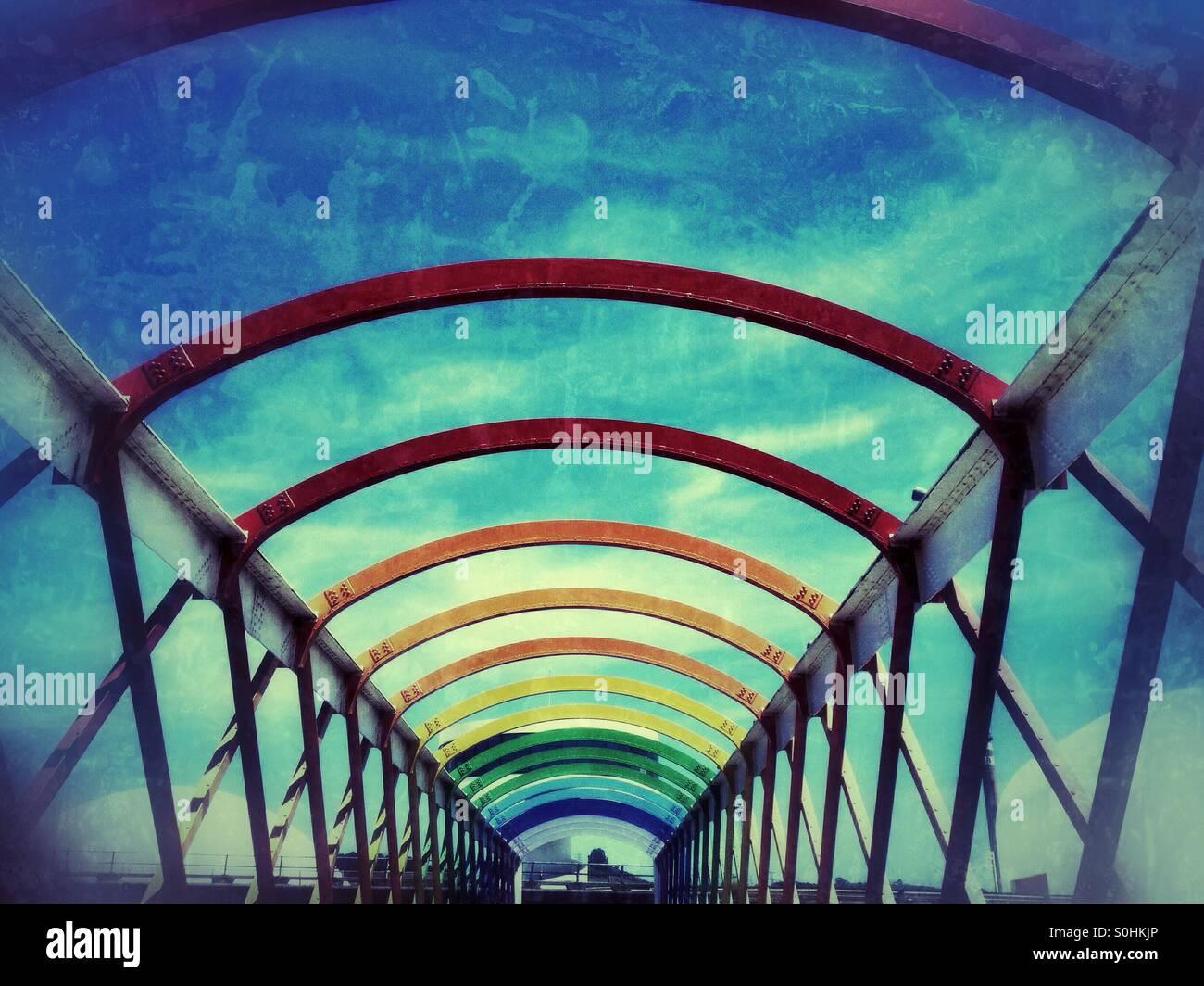 Colorful bridge to Niemeyer Center in Aviles, Asturias - Spain - Stock Image