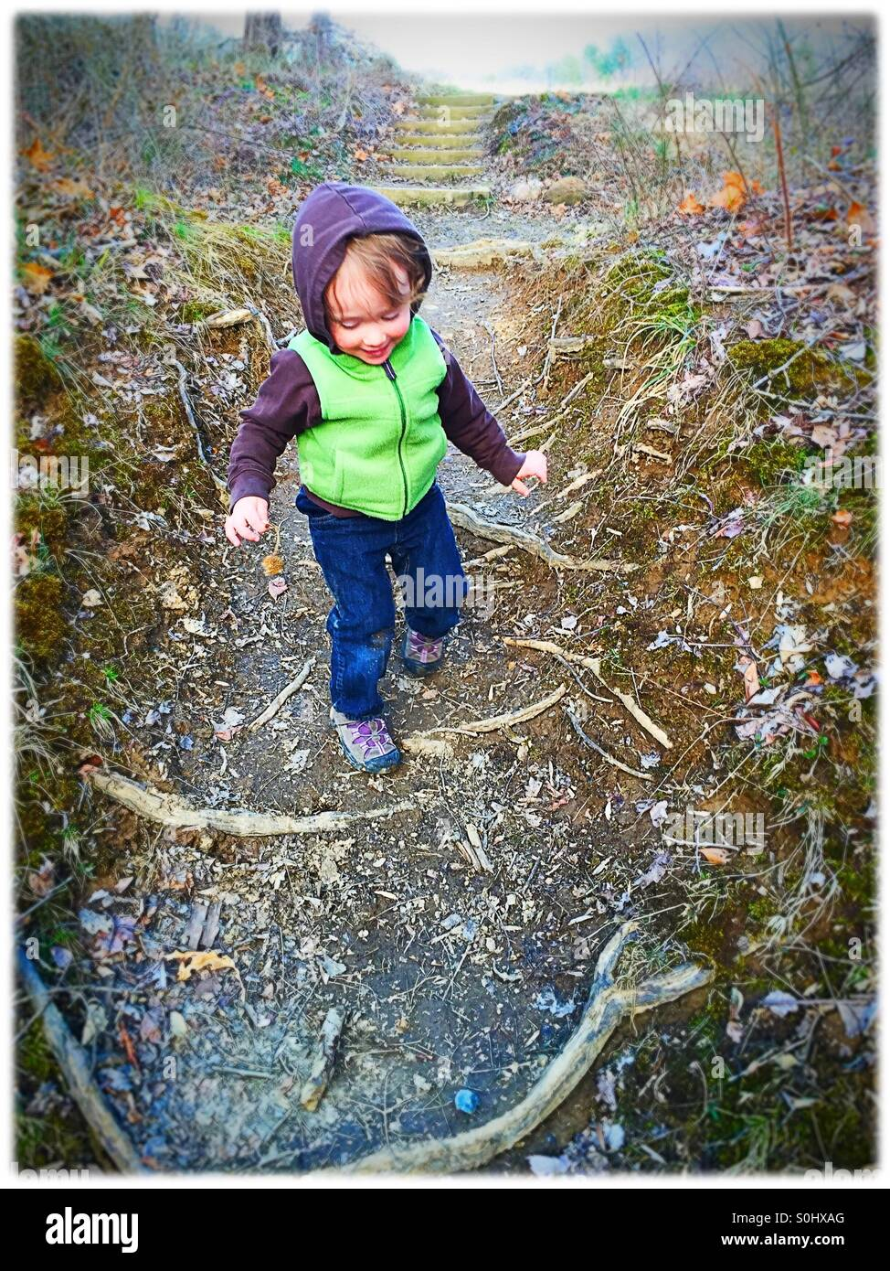 Toddler on a hike - Stock Image
