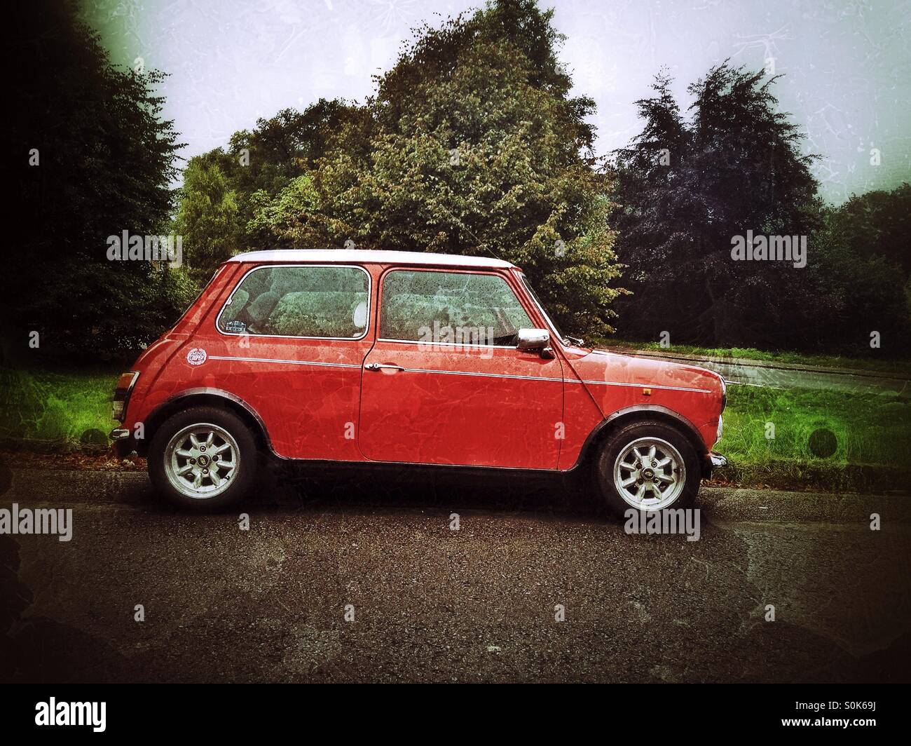 Red Mini car - Stock Image