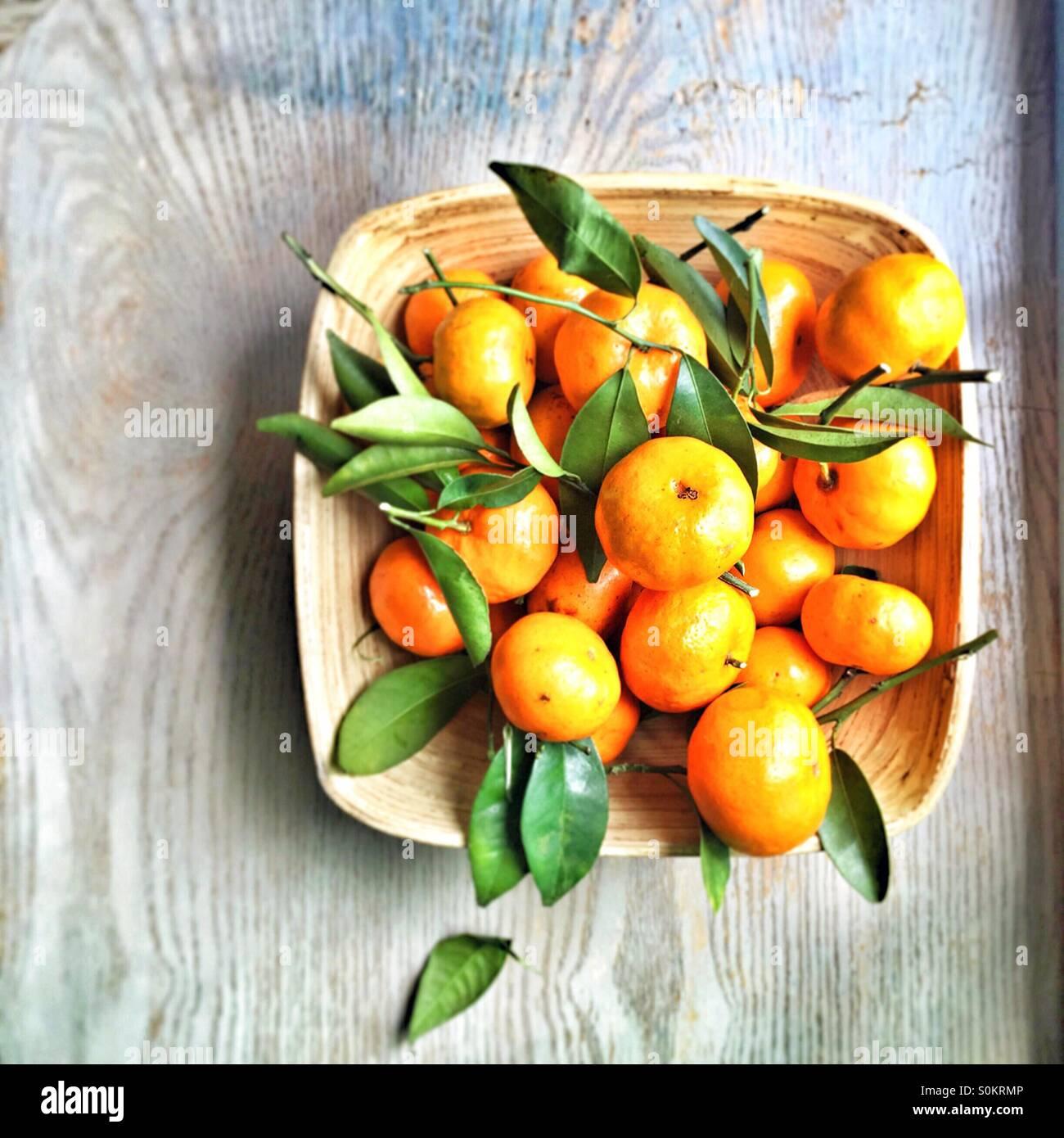 basket of oranges Stock Photo