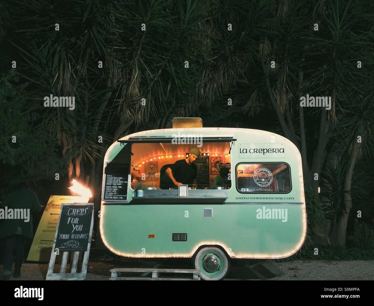 Green Food Truck - Stock Image