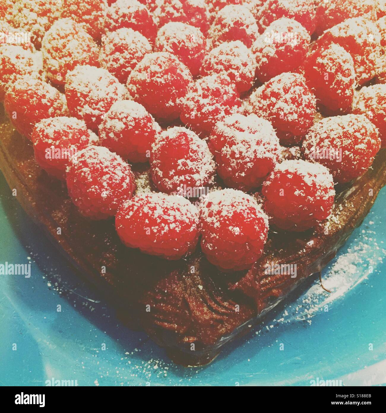 Raspberry chocolate cake Stock Photo