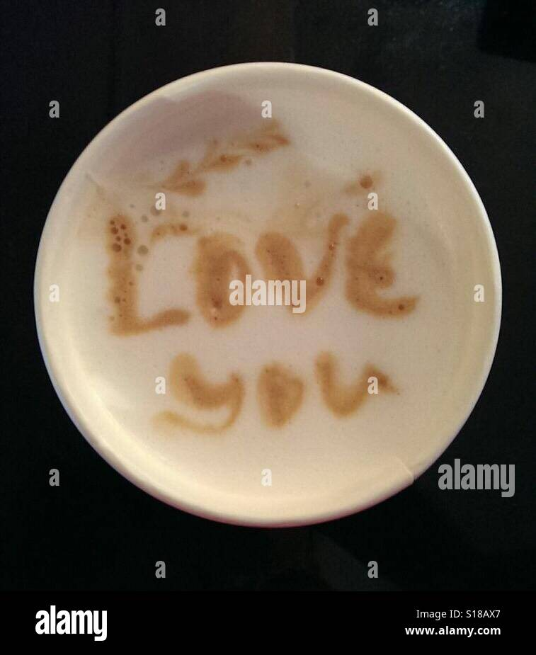 """Cappuccino cup saying """"love you"""" Stock Photo"""