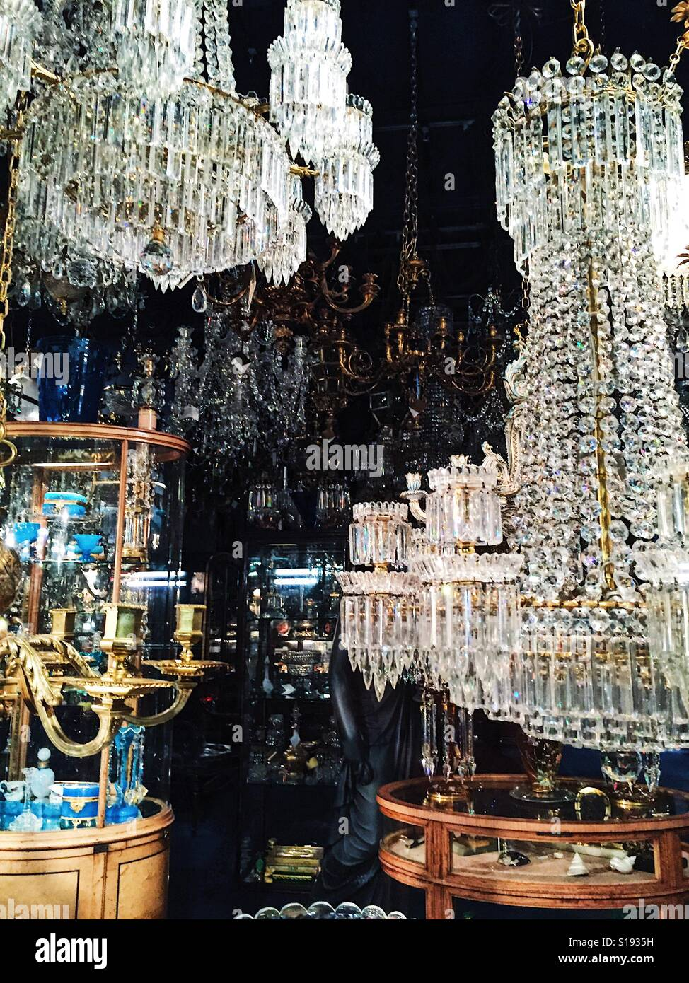 Chandeliers in the window of antiques shop in notting hill gate chandeliers in the window of antiques shop in notting hill gate london uk aloadofball Choice Image