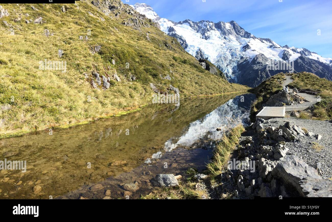 Sealy Tarn with reflection on the way up to Mueller Hut - Stock Image