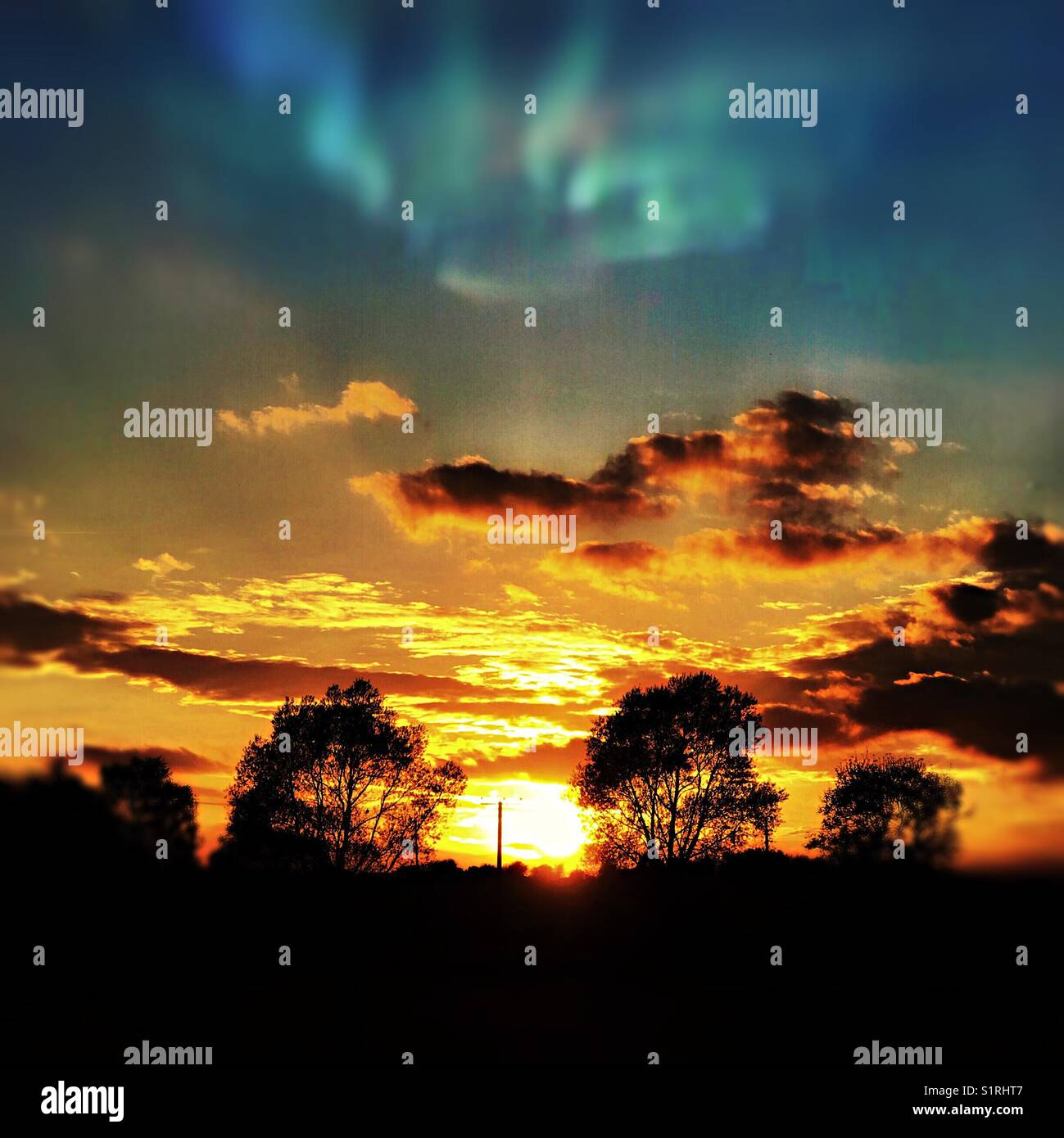 Sunset landscape - Stock Image