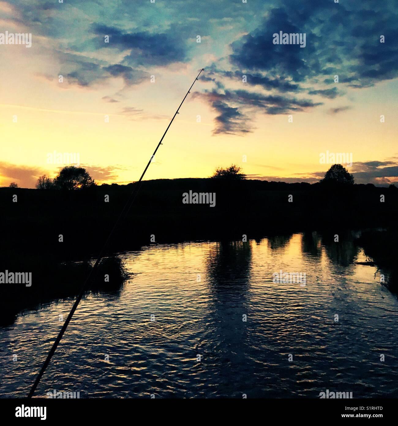 Sunset. Fishing - Stock Image
