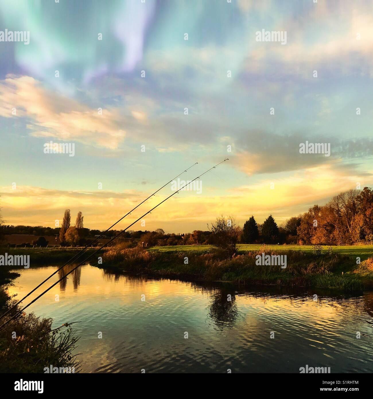 Autumnal fishing - Stock Image
