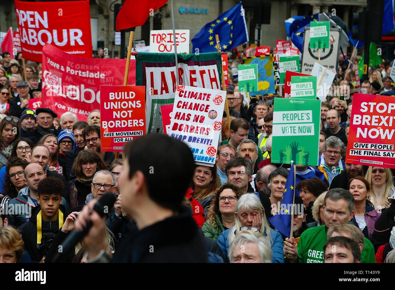 London, UK. 23 Mar, 2019. People's Vote March: Hundreds of thousands of pro-EU supporters attend a mass march to Westminster. People are expected to join the march from Park Lane to Parliament Square beginning at noon with speeches commencing at 2.45pm from all political party's. Caroline Lucas MP British Green Party politician, addresses the masses. ©Paul Lawrenson 2019, Photo Credit: Paul Lawrenson/Alamy Live News Stock Photo