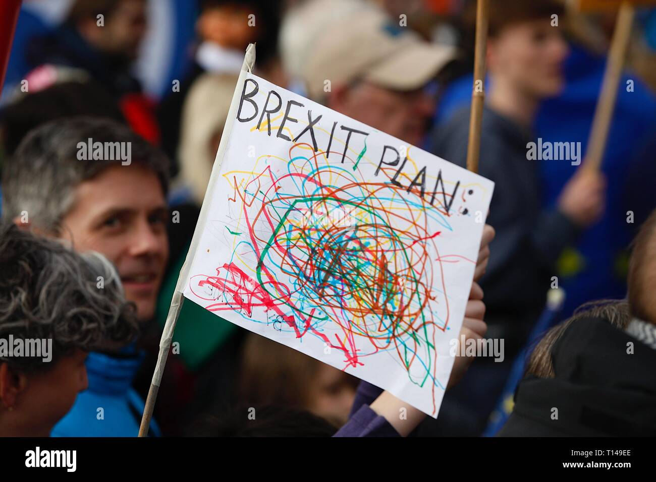 London, UK. 23 Mar, 2019. People's Vote March: Hundreds of thousands of pro-EU supporters attend a mass march to Westminster. People are expected to join the march from Park Lane to Parliament Square beginning at noon with speeches commencing at 2.45pm from all political party's. Brexit plan scribble sign. ©Paul Lawrenson 2019, Photo Credit: Paul Lawrenson/Alamy Live News Stock Photo