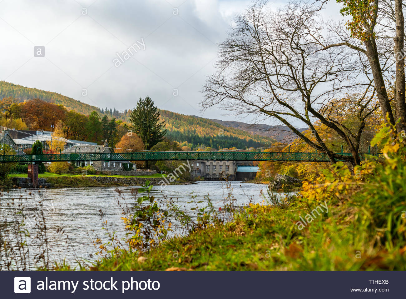 A view of the Tummel river  running along Pitlochry, in Perthshire, Scotland Stock Photo