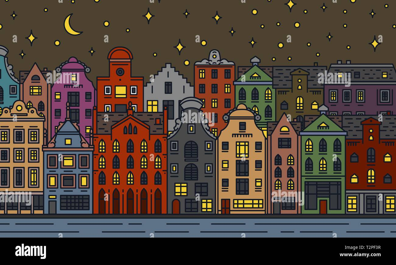 Europe house and apartments. Moon night in Amsterdam. Cute architecture in Amsterdam. Neighborhood with classic street and cozy homes. Building and fa Stock Vector