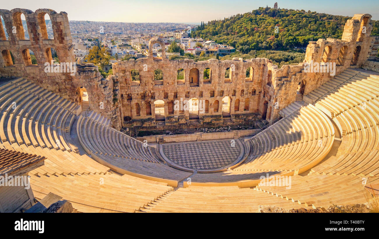Theatre of Dionysus at Acropolis, Athens, Greece Stock Photo