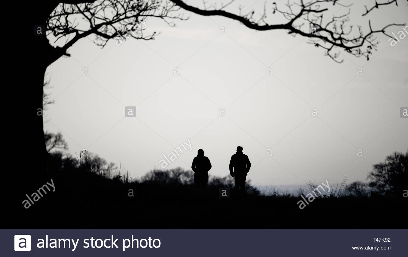 couple walking through richmond park near dusk, in West London Stock Photo