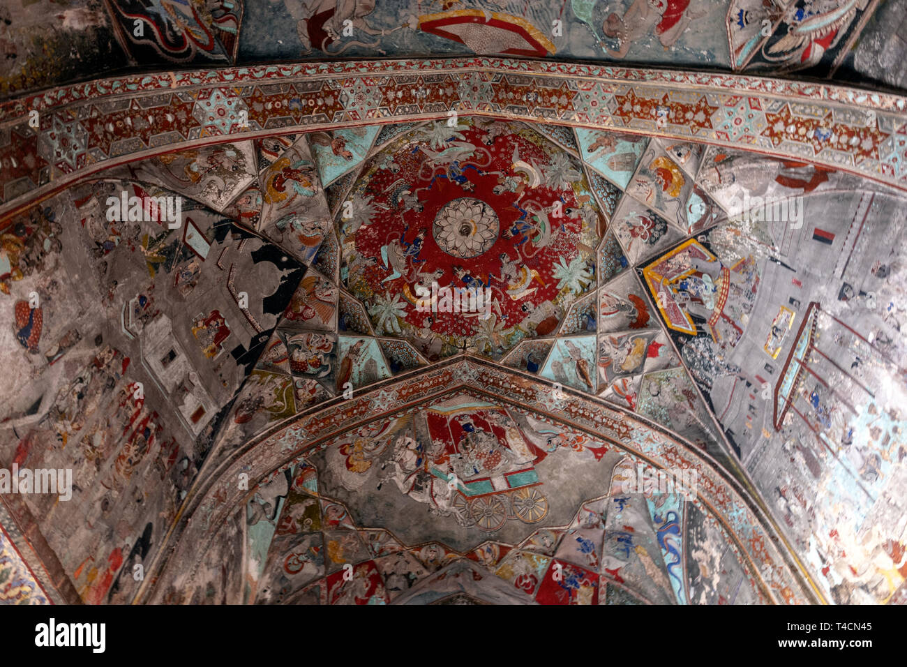 the Rasa mandala painted in the central vault of the ceiling. Wall Paintings in Badal Mahal, Bundi Palace, Bundi, Rajasthan, India Stock Photo