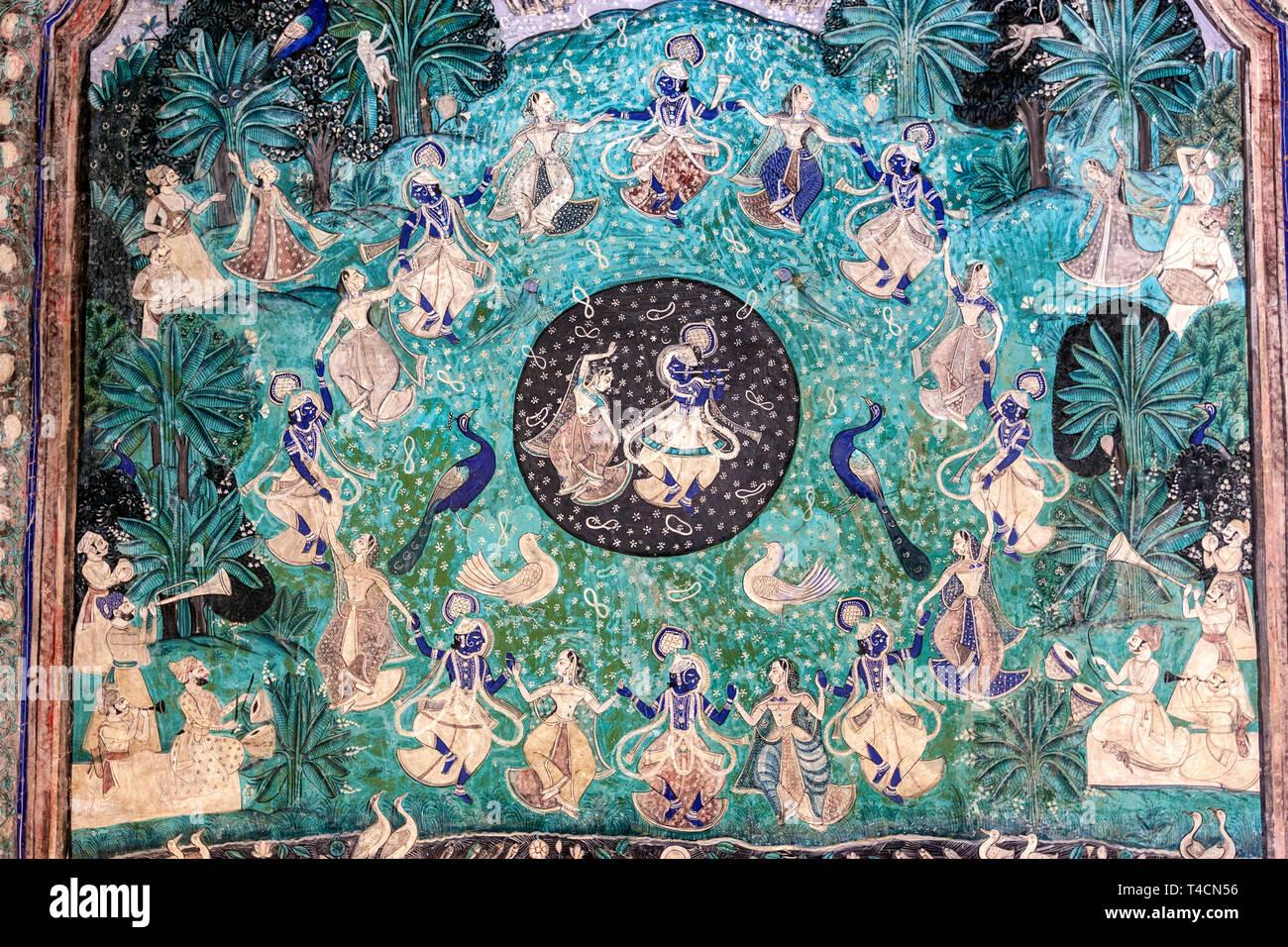 Lord Krishna Raas Leela painting, wall Paintings in west veranda, Chitra Mahal, Bundi Palace, Bundi, Rajasthan, India Stock Photo