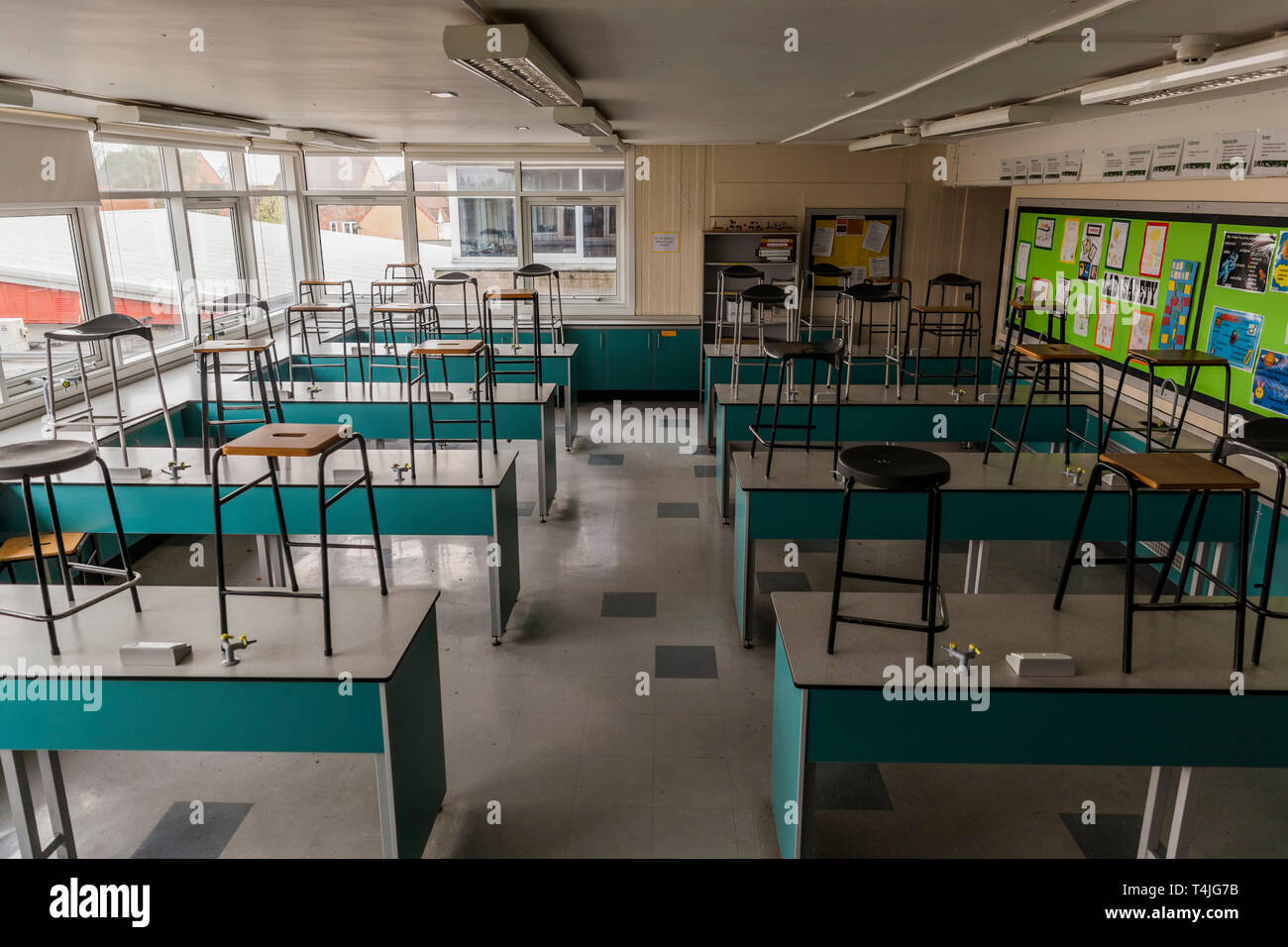 Science Classroom in UK,empty, no staff or students. Stock Photo