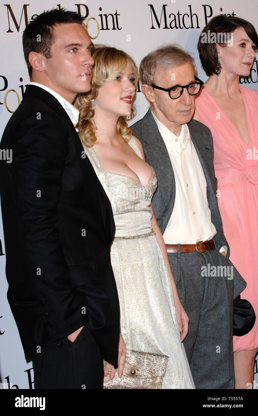 LOS ANGELES, CA. December 08, 2005: LtoR: JONATHAN RHYS-MEYERS, SCARLETT JOHANSSON, WOODY ALLEN & EMILY MORTIMER at the Los Angeles premiere of their new movie Match Point. © 2005 Paul Smith / Featureflash Stock Photo
