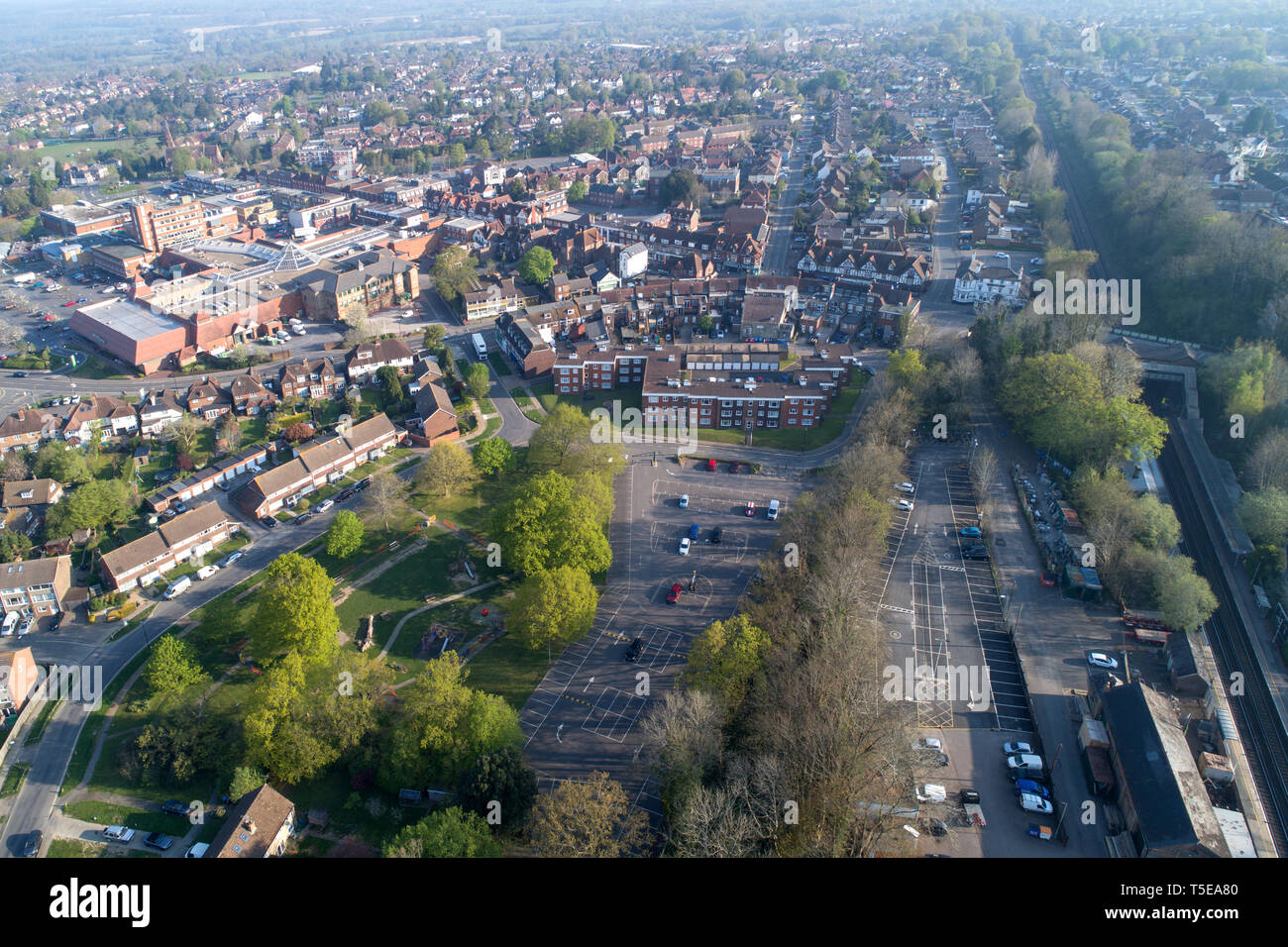 aerial views of burgess hill looking towards the town centre west sussex taken by drone Stock Photo