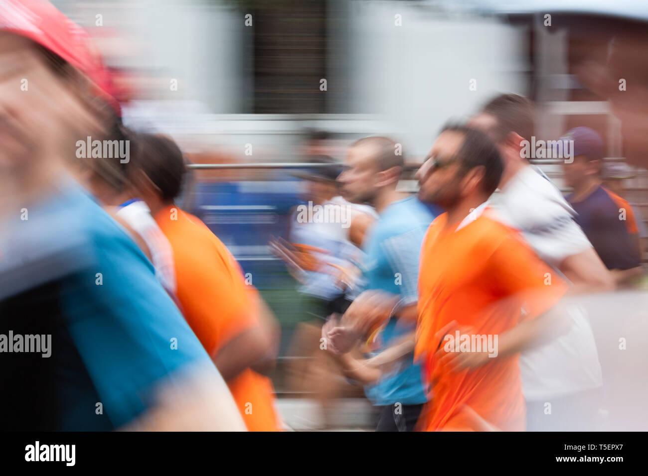 Blur motion, abstract background, long exposure shoot of competitors at Corrida Internacional (International Race) de Sao Silvestre, Sao Paulo, Brazil Stock Photo