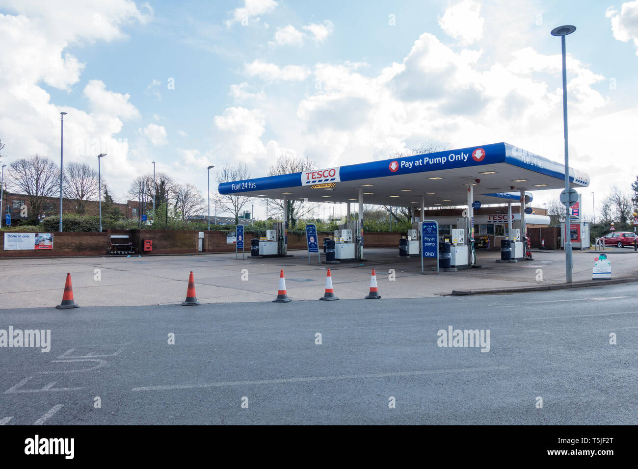 Fuel forecourt closed Stock Photo