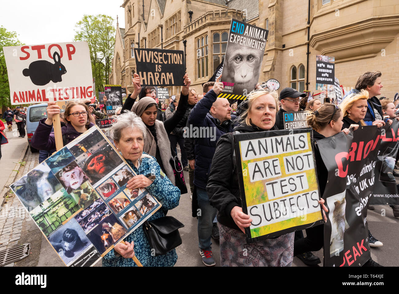 World Day for Animals in Laboratories, Oxford. Activists against animal experiments march through the city centre to highlight their campaign. Stock Photo