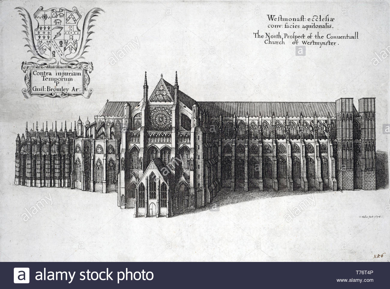 Westminster Abbey, London, etching by Bohemian etcher Wenceslaus Hollar from 1654 Stock Photo