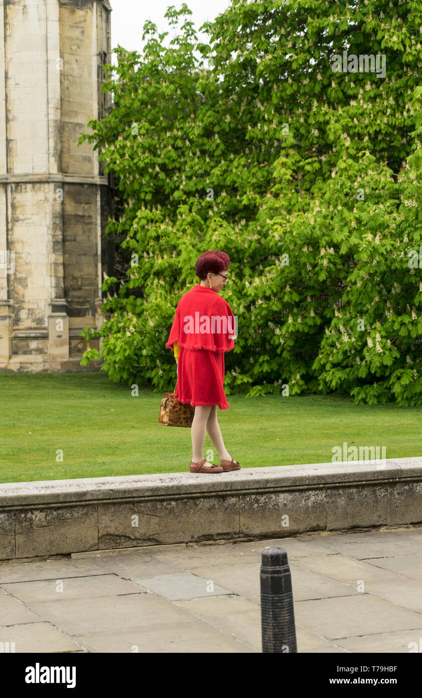 Oriental lady posing for photo in front of Kings college Cambridge 2019 Stock Photo