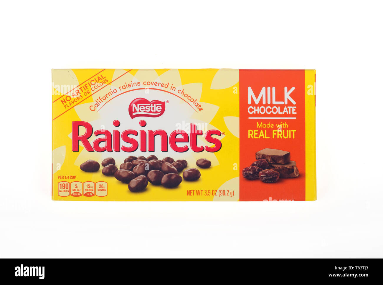 Nestle Raisinets milk chocolate covered raisins candy box Stock Photo