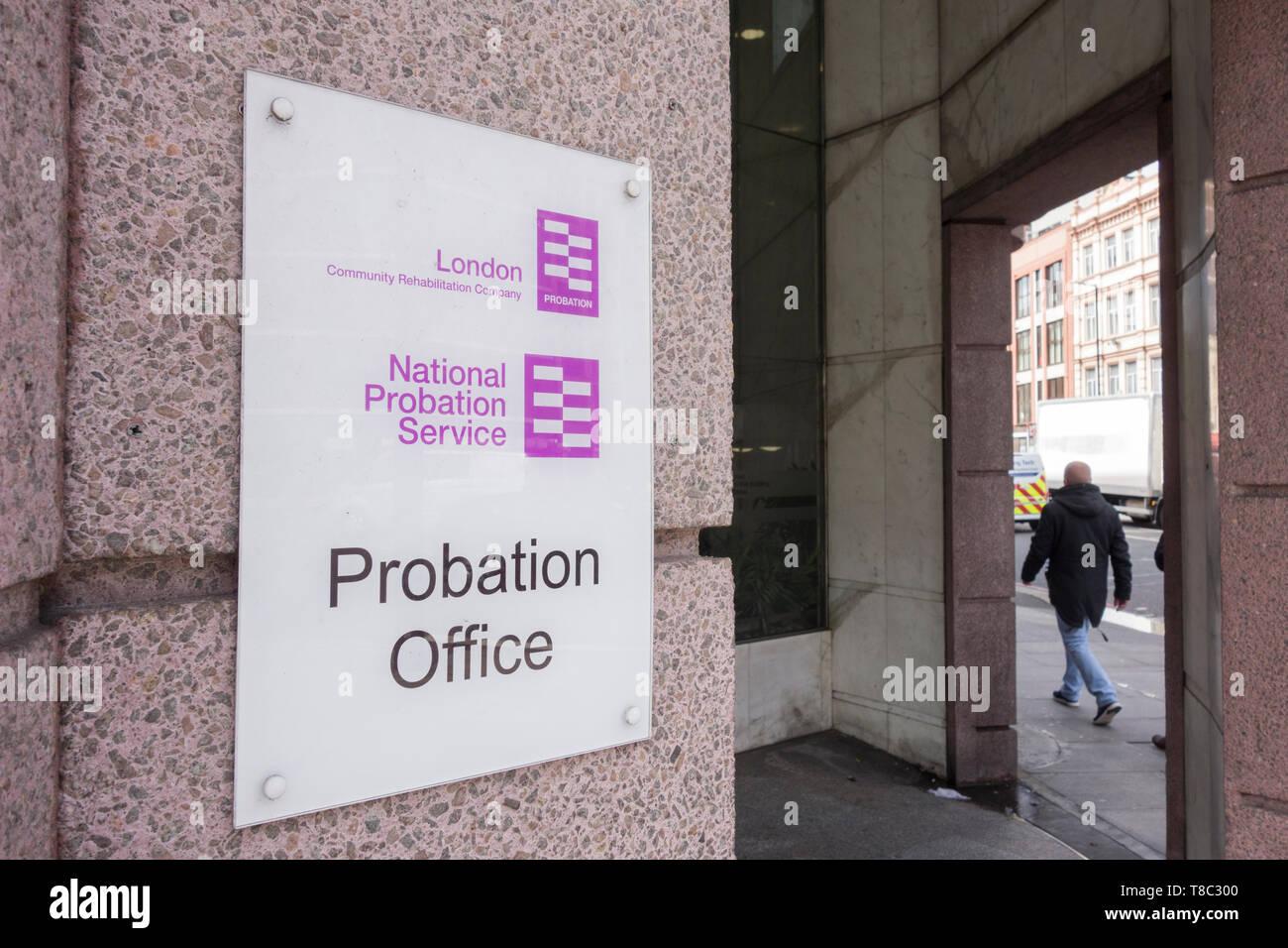 Signage outside the National Probation Service, Probation Office, Great Dover Street,  Southwark, London SE1, UK Stock Photo