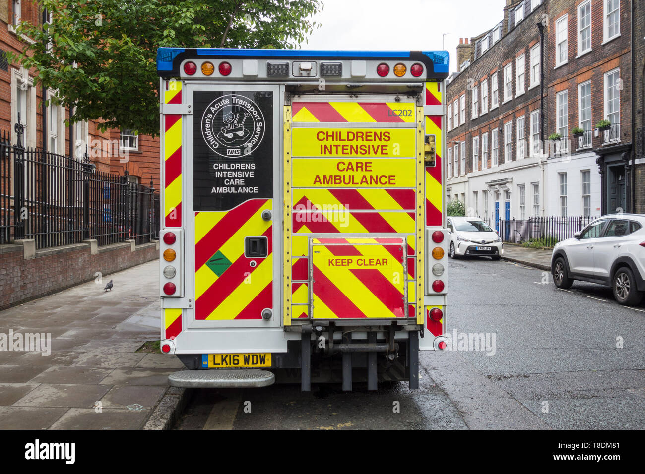 Children's Intensive Care Ambulance parked on Great Ormond Street, London, WC1, UK Stock Photo