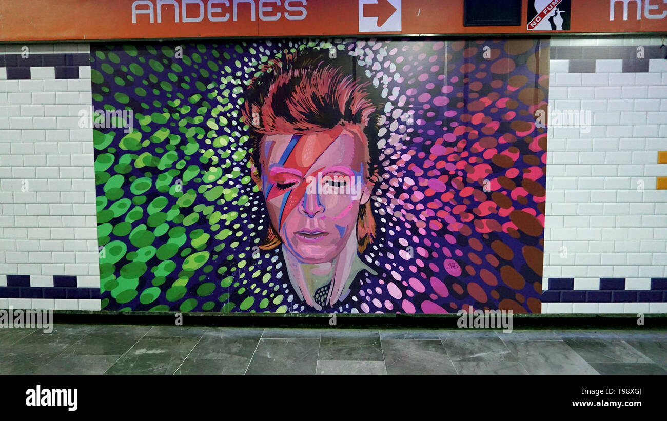 David Bowie Ziggy Stardust mural, Mexico City Metro station. Stock Photo