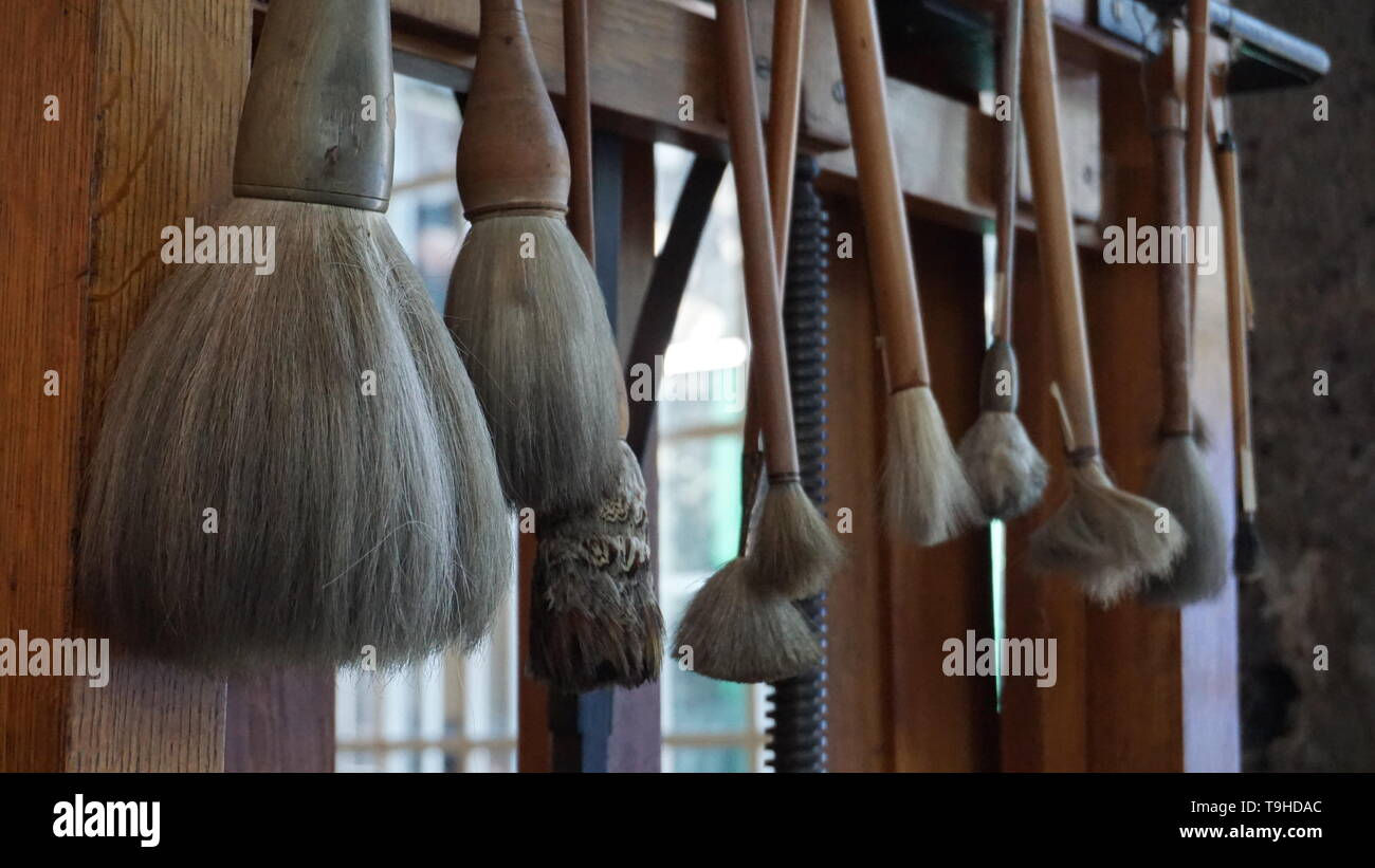 Frida Kahlo's paintbrushes.  Frida Kahlo house.  Mexico City, Mexico. Stock Photo