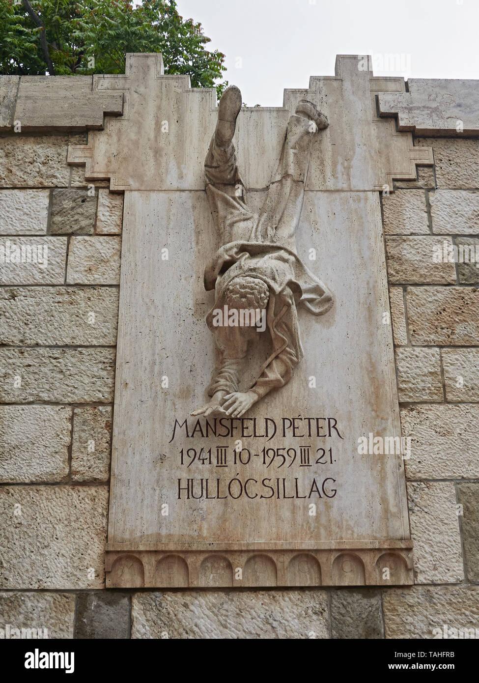 Peter Mansfeld Monument situated in Szabó Ilonka Utca under the Fisherman's Bastion Budapest Hungary Stock Photo