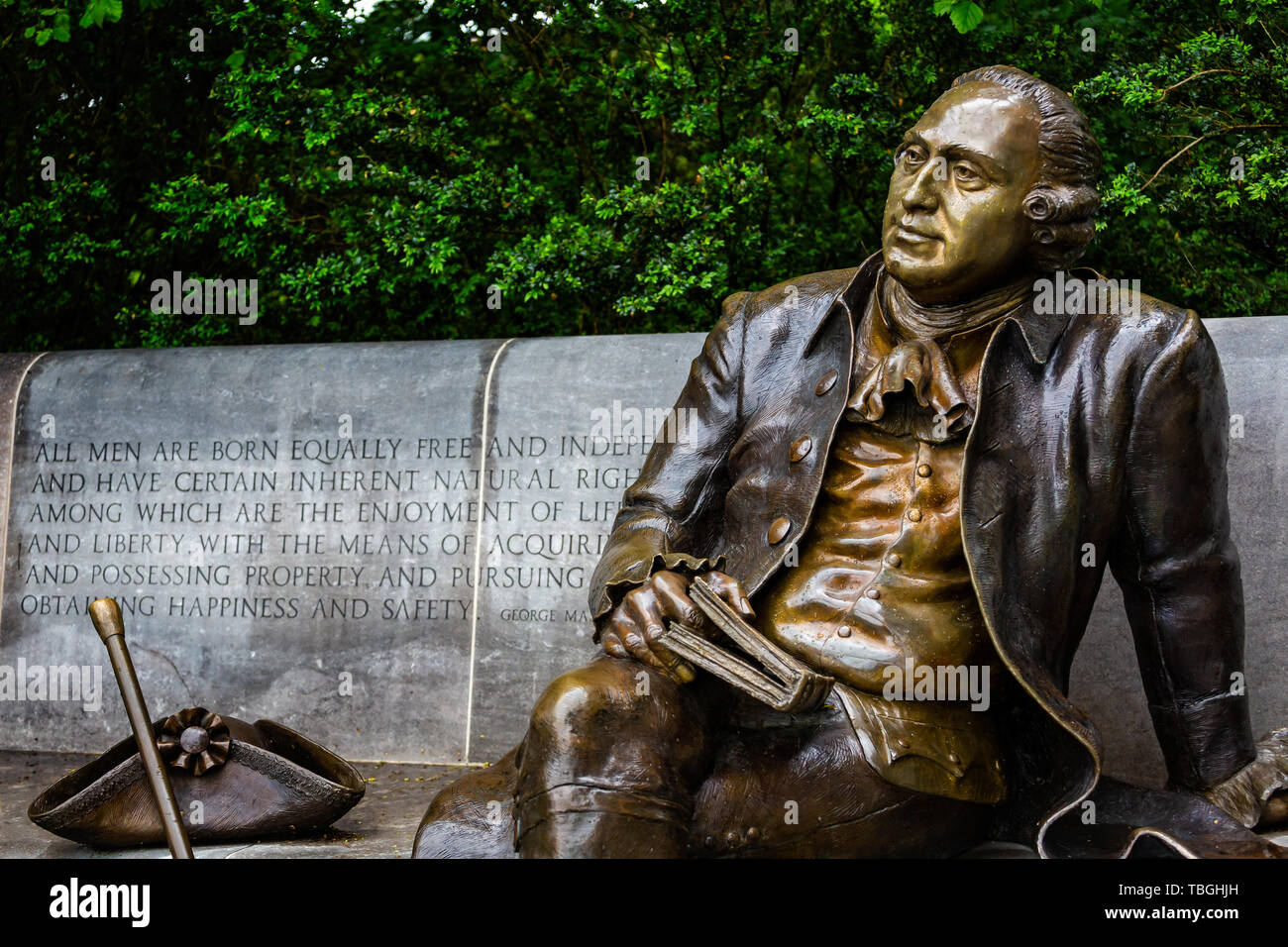 Statue of US Founding Father George Mason in the George Mason Memorial garden in Washington DC, USA on 13 May 2019 Stock Photo