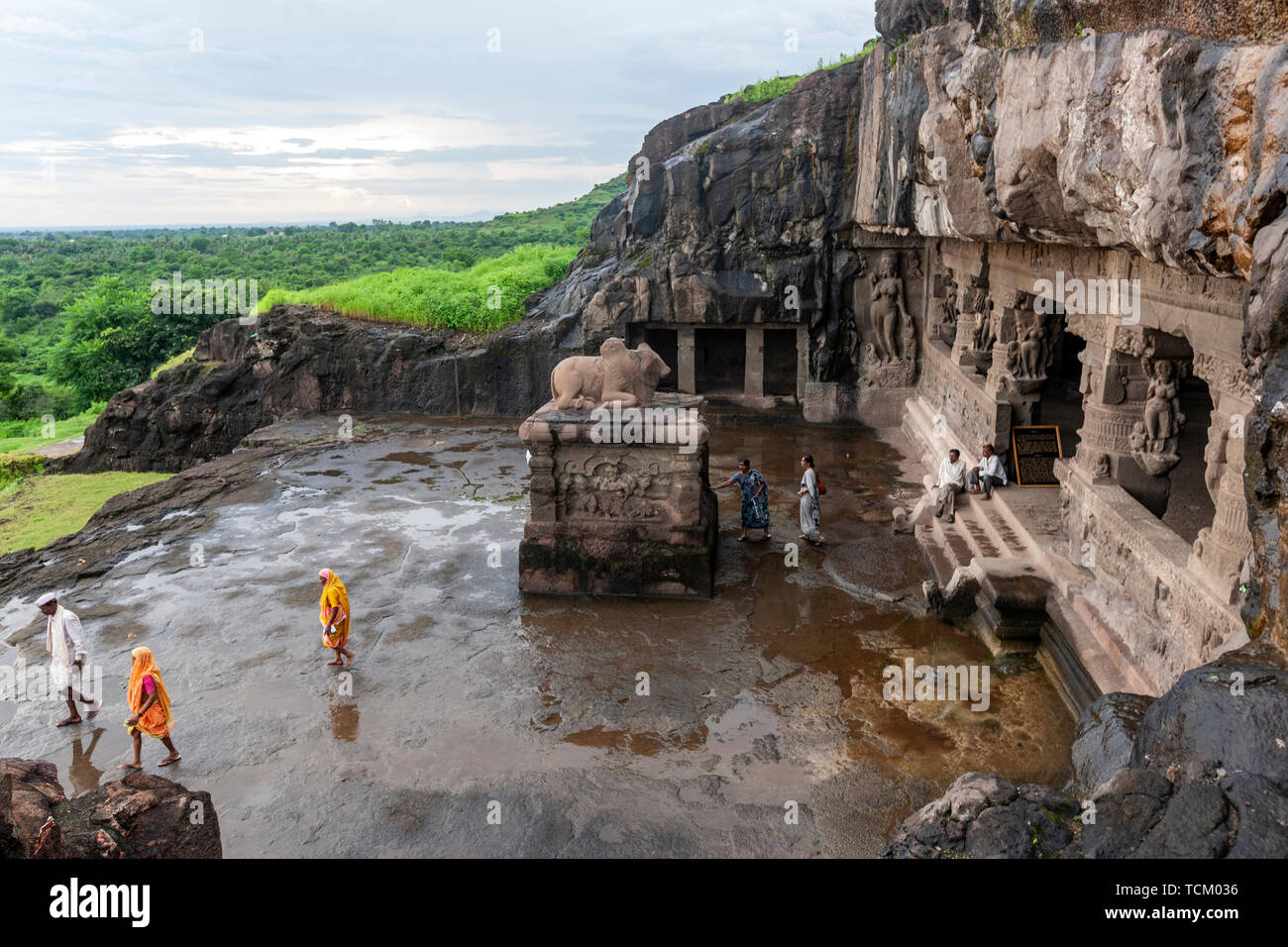 Ellora Caves,  rock-cut monastery-temple cave, Aurangabad district of Maharashtra, India. Stock Photo