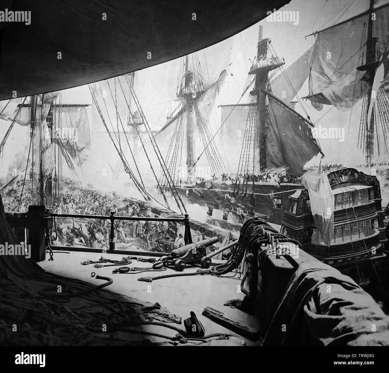 Battle of Trafalgar panorama, Royal Naval Exhibition of 1891 in London Stock Photo