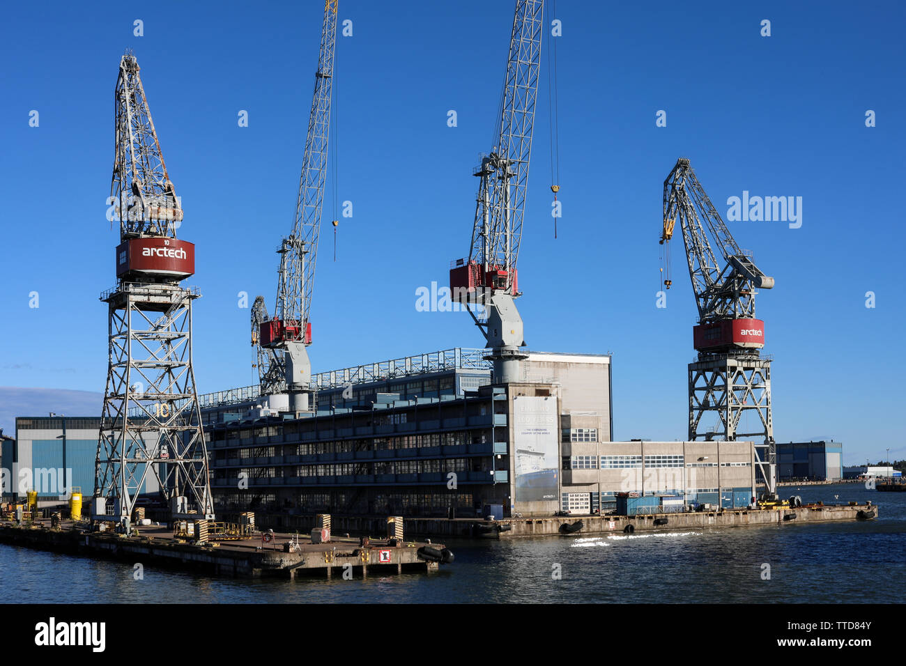 Hietalahti shipyard in evening sun in Helsinki, Finland Stock Photo