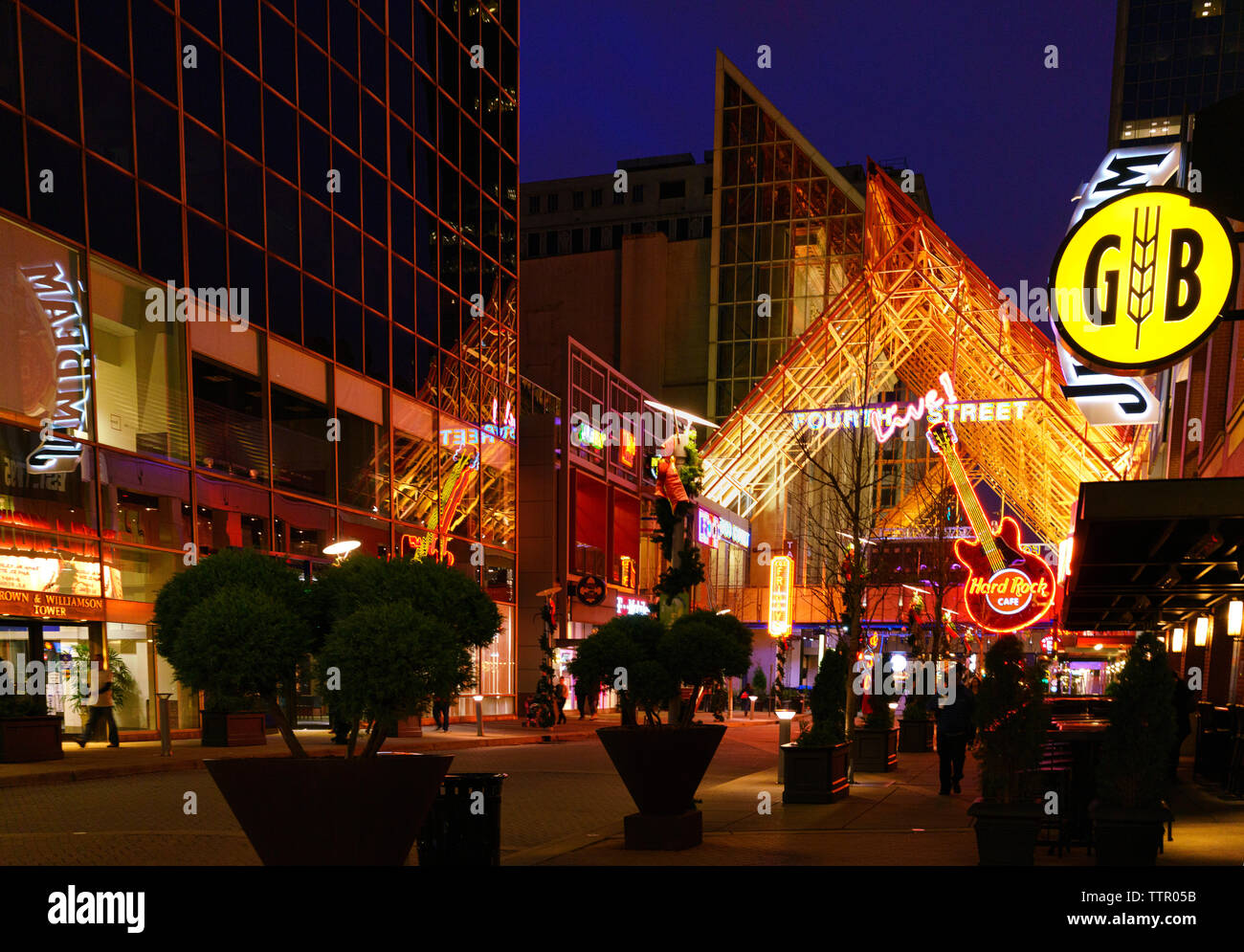 Neon lights Fourth Street Live! at night, a downtown Louisville, Kentucky complex with restaurants, bars, nightlife, sports and entertainment venues Stock Photo