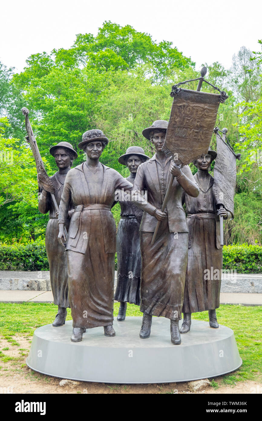 Women Suffrage Monument bronze sculpture of 5 Tennessee women involved in the Suffrage Movement located Centennial Park Nashville Tennessee USA. Stock Photo
