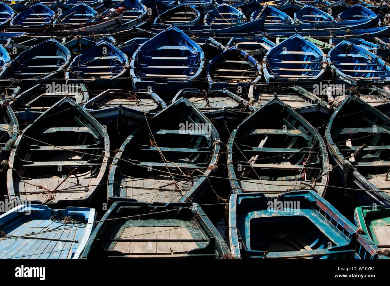 Blue Fishing boats in Essaouira, Morocco Stock Photo