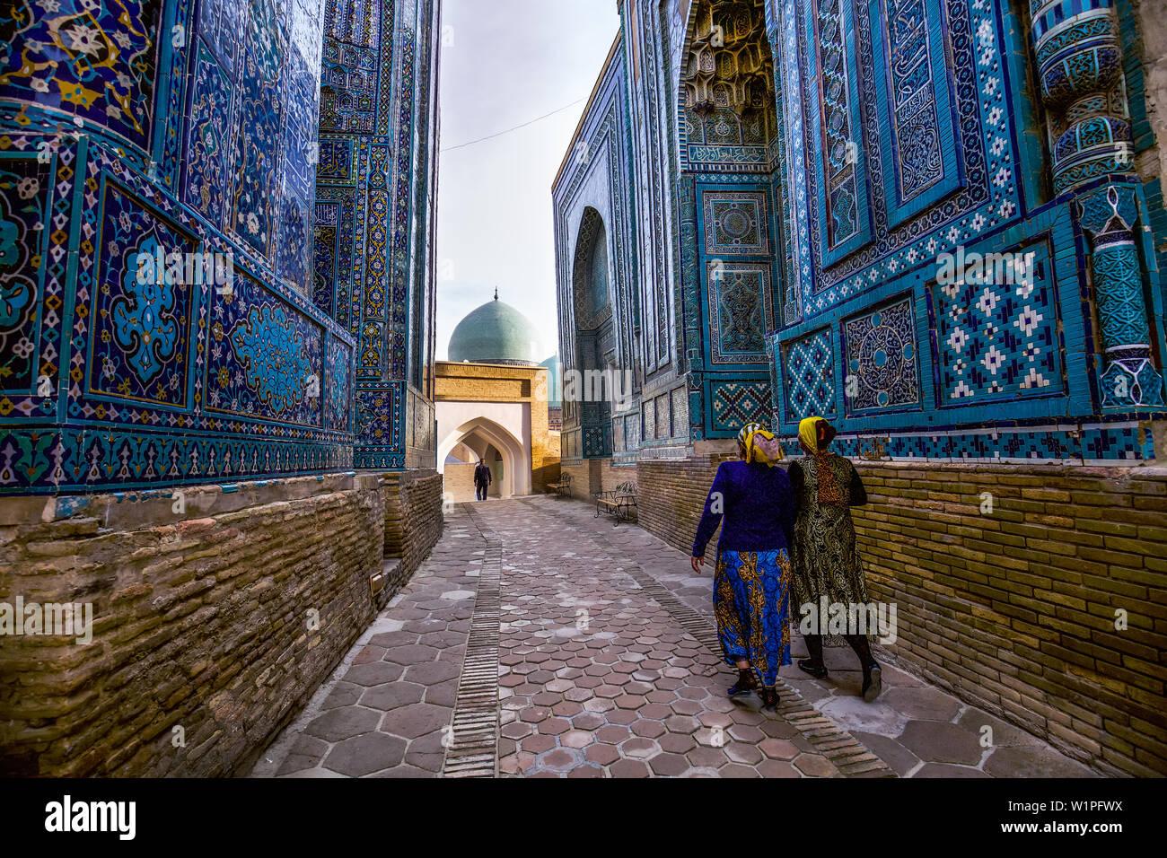 Shah-i-Zinda Necropolis of Samarkand, Uzbekistan, Asia Stock Photo