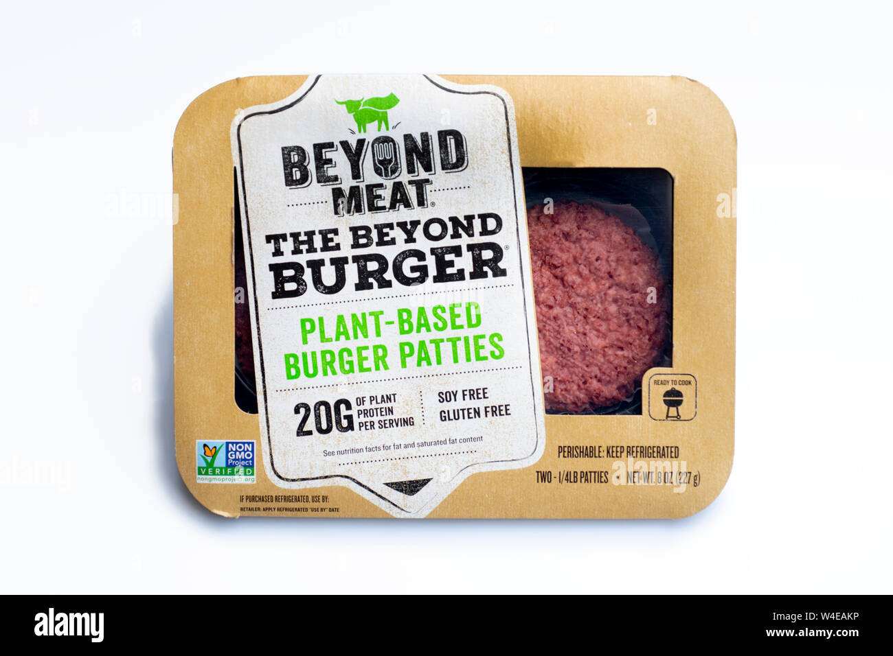 Beyond Meat plant based meatless food products for vegan and vegetarian eating burger patties Stock Photo