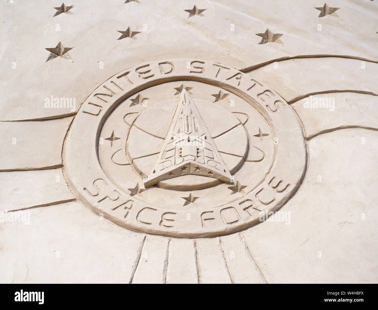 United States Space Force logo sculpted in sand at the 2019 Texas Sandfest in Port Aransas, Texas USA. Stock Photo